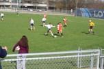 Freshman Eva Bugnaski tries to dribble past an Allegan defender. The Junior Varsity ended up losing their game that day.