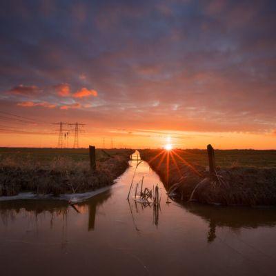 Zonsondergang polder Mastenbroek