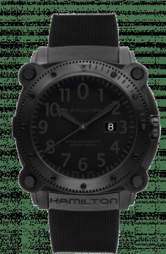 Reloj Hamilton en color negro con detalles en color gris