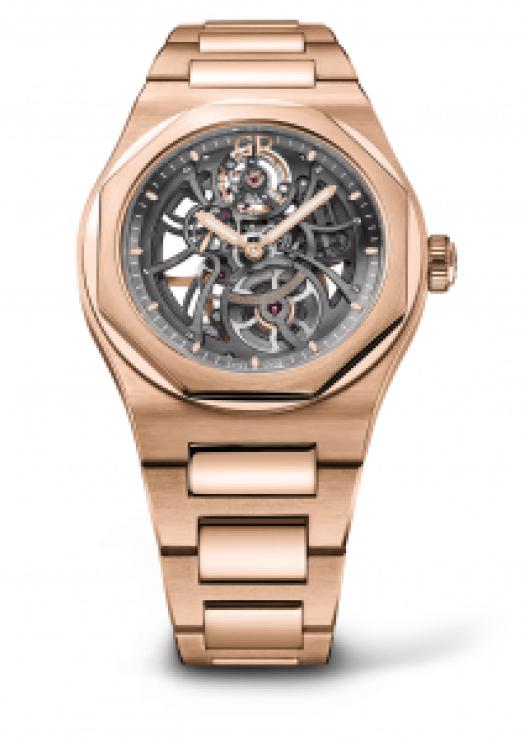 Reloj Girard-Perregaux de oro rosa con la caratula en forma esqueletizada