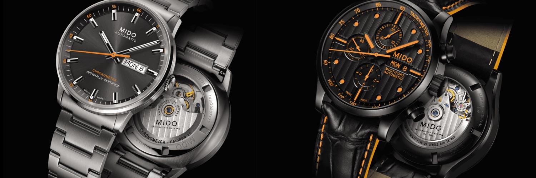 Portada con relojes hombre MIDO en color plateado y negro con naranja