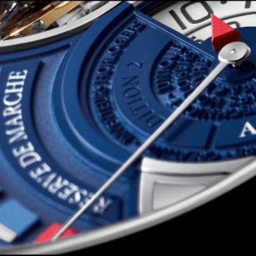 Reloj negro con azul arte de cerca