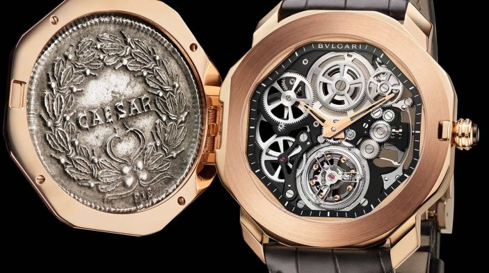 Reloj Octo Monte negro con cadena en bronce con mecánismo a la vista