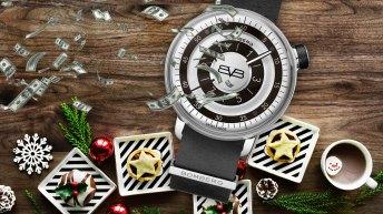 Reloj con billetes volando e imágenes navideñas