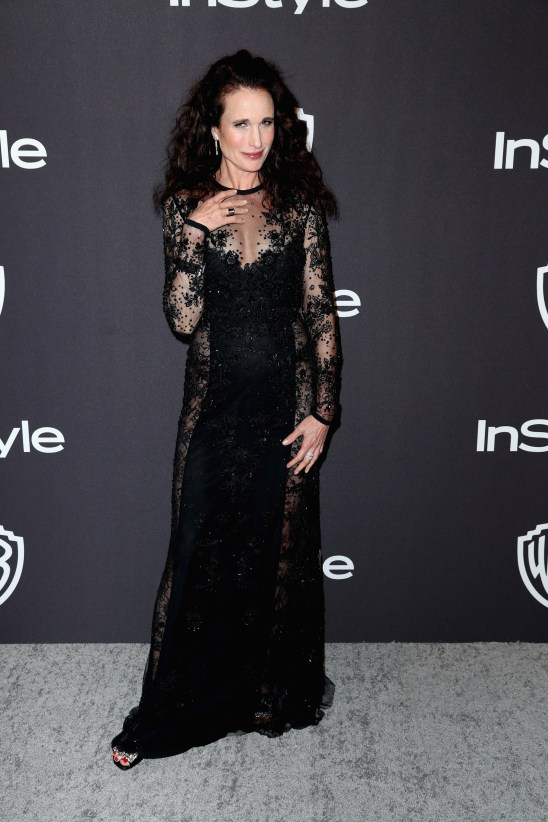 Andie Macdowell en la red carpet de los Golden Globes 2019