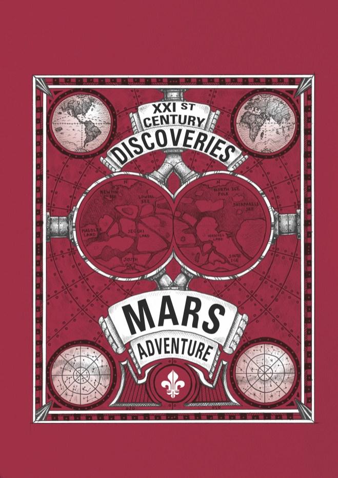 Cartel en colo rojo con figuras y letras negras con la leyenda Mars Adventure