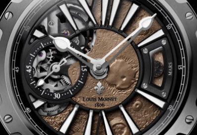 Caratula del reloj Mars en color plata con detalles en color bronce y blanco