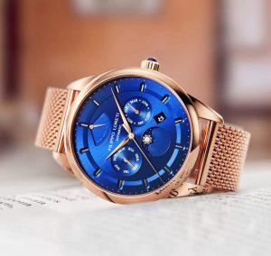 Reloj Filippo Loreti dorado con el dial en color azul y detalles dorados