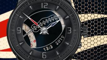 Reloj Super Bowl en color negro con imagen al fondo de color azul
