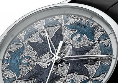 Caratula de un reloj Vacheron Constantin color gris y azul con Guilloché Technique