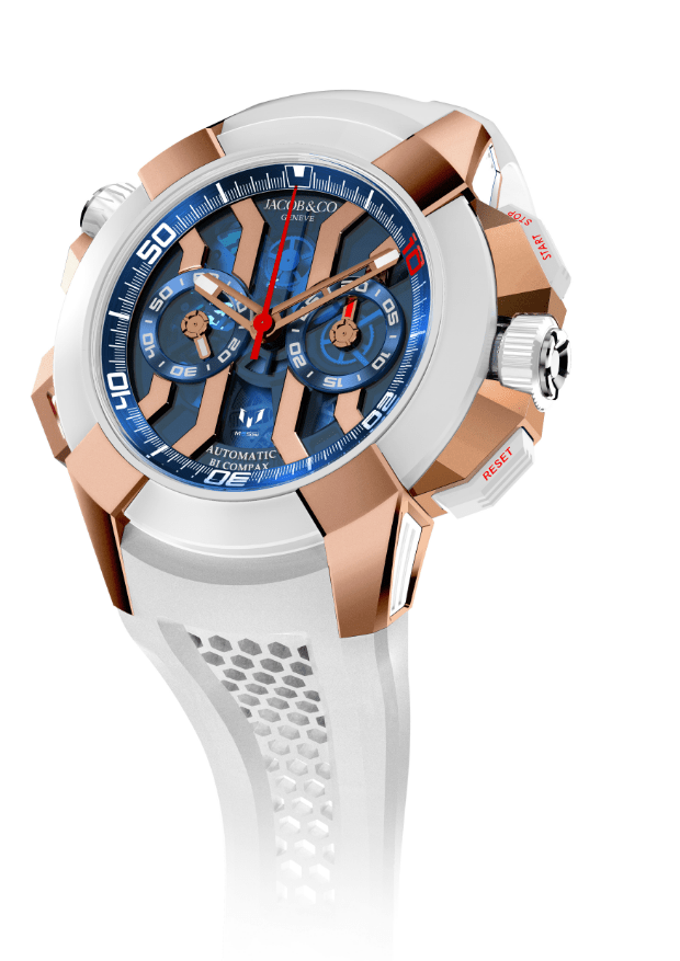Messi Epic X Chrono en color blanco con detalles en color dorado y la cartula en color azul con rojo