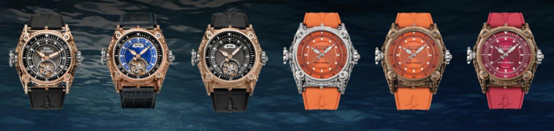 Imagen de relojes en color negro con dorado, naranja con plata, naranja con dorado y rosa con dorado