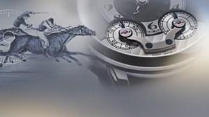 Carátula de un reloj con la figura de un hombre montando un caballo a lado