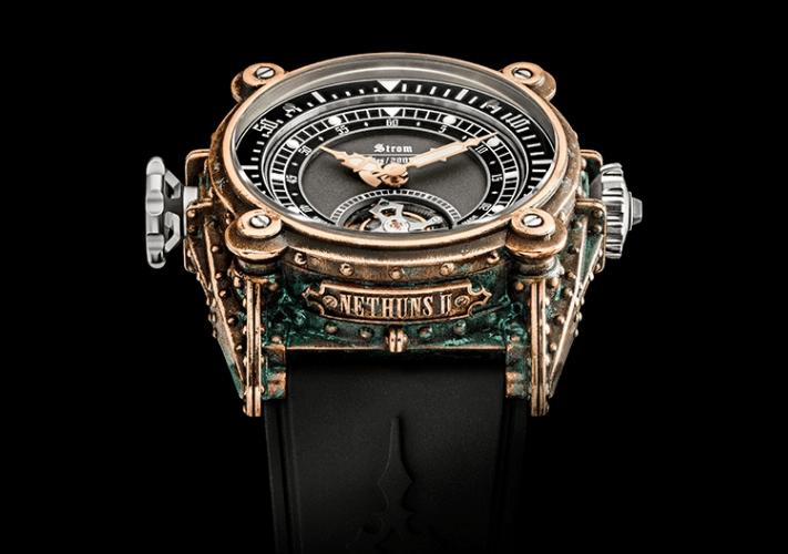 Reloj Nethuns ll Colorum con correas negras y caratula con detalles en color dorado, plata, negro y verde
