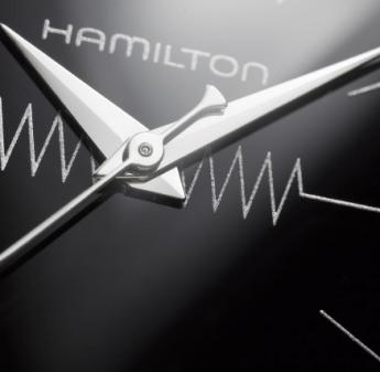 Caratula del reloj Ventura Quartz con las manecillas plateadas y el fondo negro