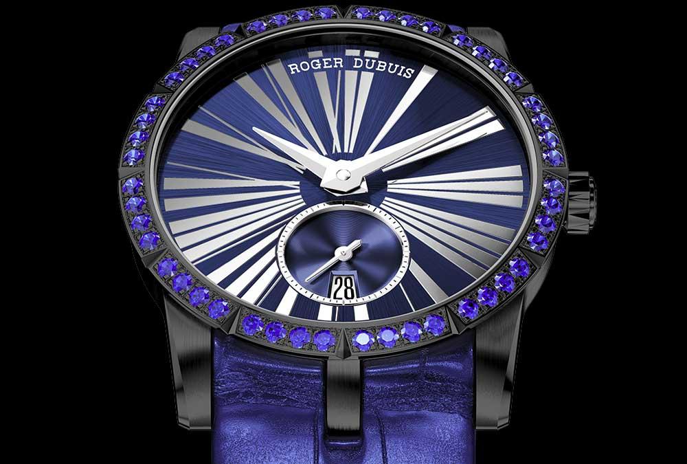 Reloj Excalibur en color morado con negro y detalles blancos