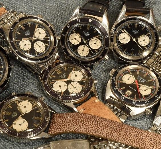 Relojes Autavia con correas en diferentes tonos cafes y caratula con detalles en plateado, café y blanco