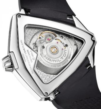 Reloj Ventura XXL Auto con correas negras y caratula plateada con engranes visto por detrás