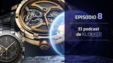 Portada de el Podcast de Klokker episodio 8 con un reloj de fondo