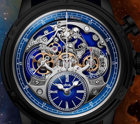 Calibre LM-70 del reloj Memoris con detalles plateados y azul