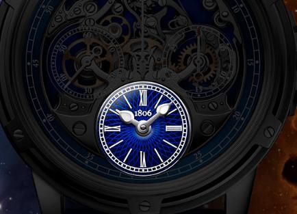 Dial en color azul con detalles blancos de horas y minutos del reloj Memoris