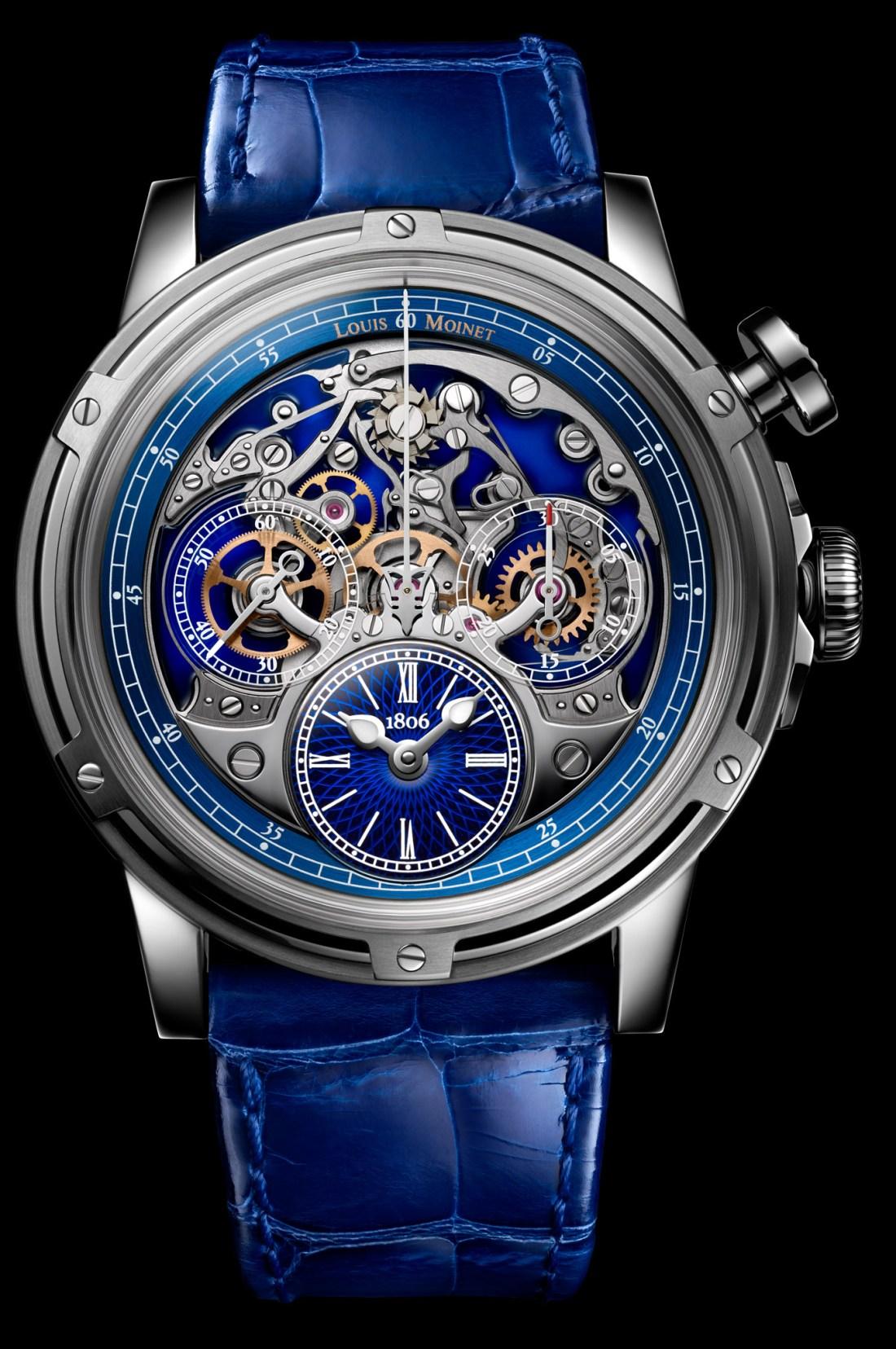 Reloj memoris con correas azules y caratula en color plateado con fondo negro