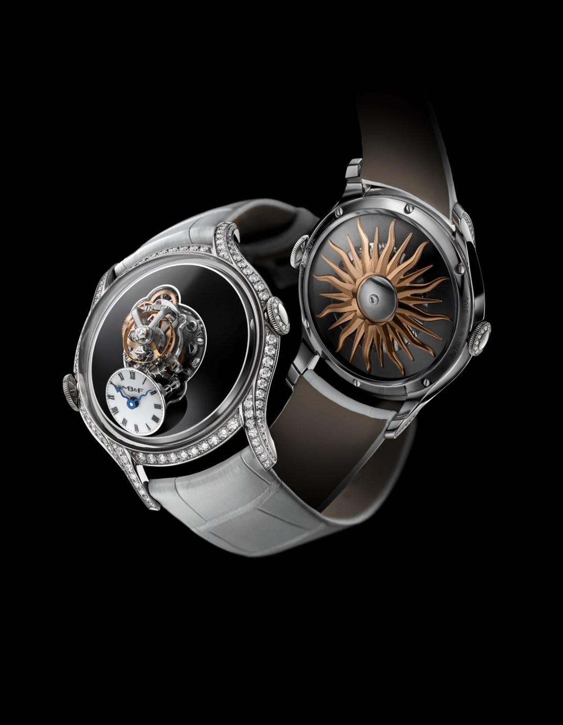 Reloj con correas plateadas y caratula con diamantes visto de frente y por detrás