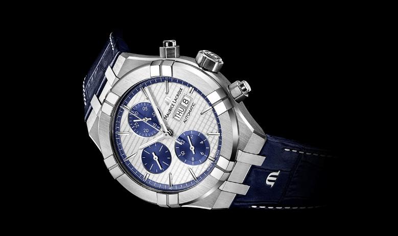Reloj AIKON Automatic con correas azul marino y caratula en plateado con detalles en blanco y azul marino