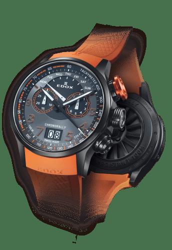 Reloj con correas naranjas y caratula en color negro con detalles en color blanco y naranja
