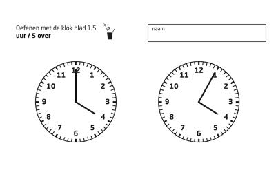 Werkbladen met minutenstreepjes