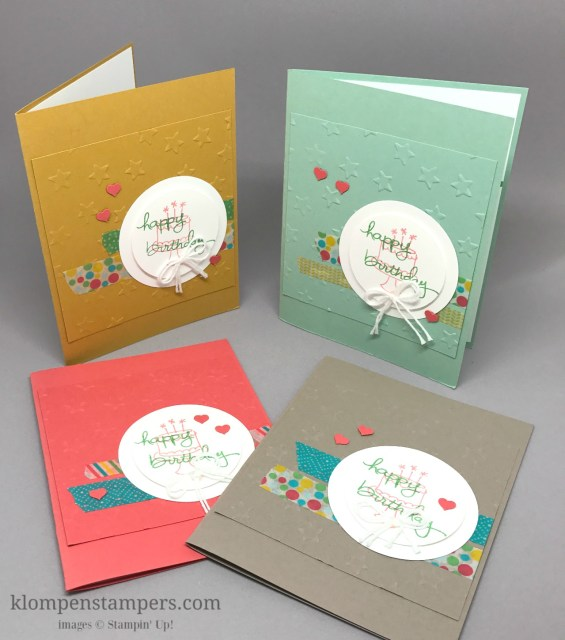 Quick and easy birthday cards using Stampin' Up! Endless Birthday Wishes