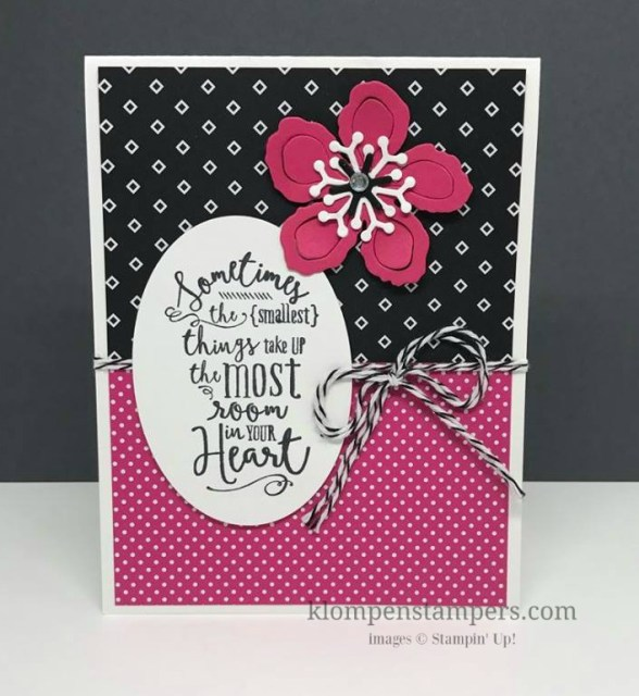 Quick and easy card using the Layering Love stamp set and Pop of Pink Designer Series Paper. Card by Jackie Bolhuis