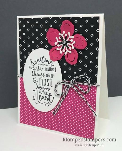 Quick and easy card featuring designer series paper, a greeting and the Botanical Builder Framelits. Card by Jackie Bolhuis