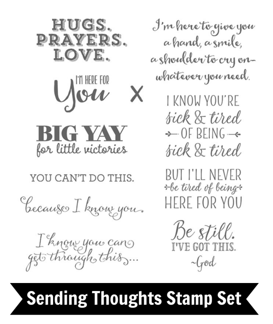 Sending Thoughts stamp set has some great words to use to send a smile through the mail to let people know you are thinking of them. Card by Jackie Bolhuis