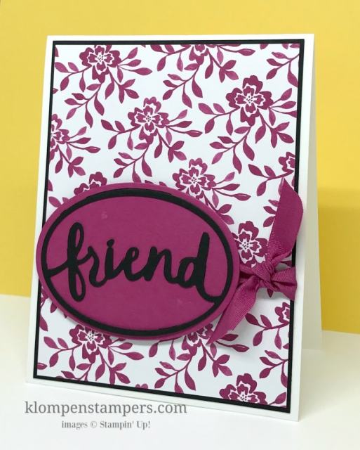Quick and easy card featuring Fresh Florals DSP and Lovely Words Thinlits