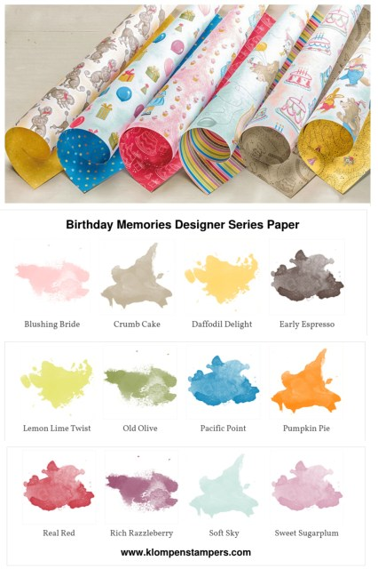 Several different ideas using the Birthday Memories DSP from Stampin' Up! Cutting instructions posted on blog. www.klompenstampers.com