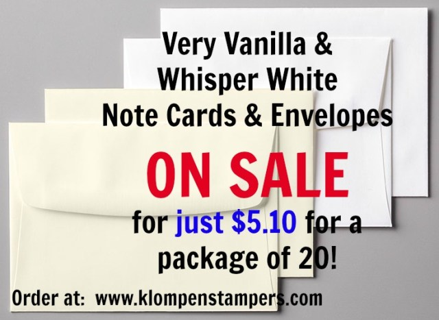 Stampin' Up! Note Cards & Envelopes on sale. Just 50 cents for a note card + envelope!