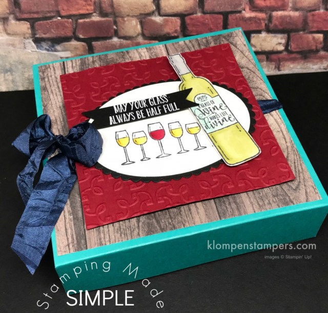 Gift box of cards using Stampin' Up! Half Full. Instructions for making box and envelopes.