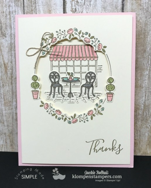Charming Cafe Stamp set from the 2018 Occasions Catalog from Stampin' Up! Card Created by Jackie Bolhuis, Klompen Stampers #jackiebolhuis #klompenstampers