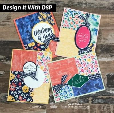 4 Simple Handmade Cards Featuring Garden Impressions Designer Paper