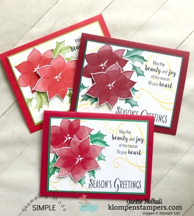 Handmade Christmas Card in 3 Color Combinations