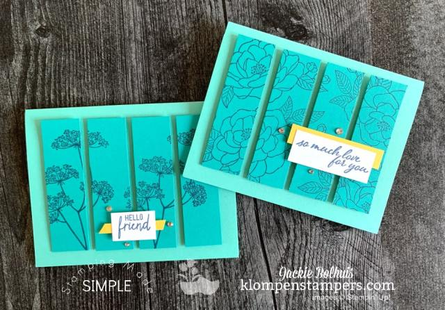 Cards that use same color family of cardstock. Perfect for beginning card makers