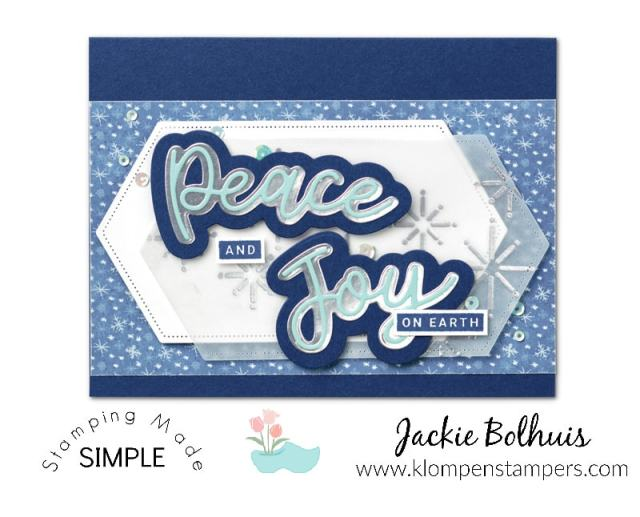 Make your own Christmas cards with shades of blue, die cut words, and snowflakes