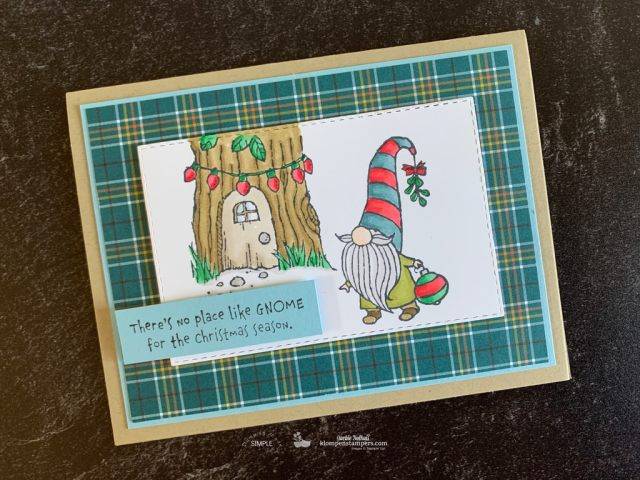 Grab the Plaid Tidings designer paper, your Stampin' Blends alcohol markers and you've got a cute DIY Christmas card.