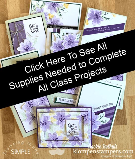 Click here to see supplies needed to complete all class projects.