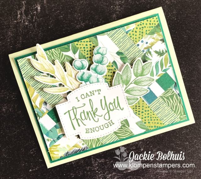 Make a simple thank you card with strips of designer or scrapbook paper