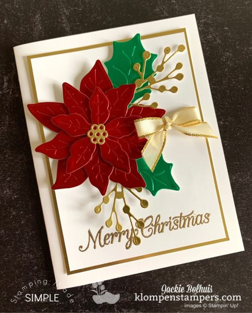 This Poinsettia card uses red and green foil papers for an elegant Christmas card.