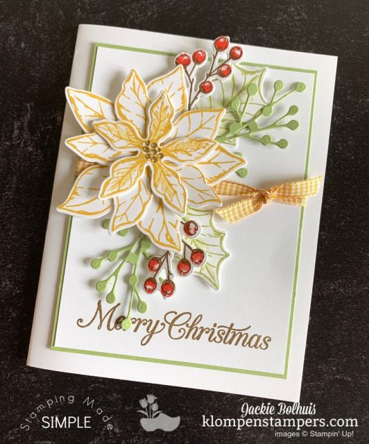 You can make Poinsettia cards beautifully with the Stampin' Up! Poinsettia Petals