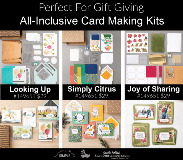 Perfect gifts for crafters this season; the Stampin' Up! Looking Up kit, the Simply Citrus kit, and the Joy of Sharing kit.