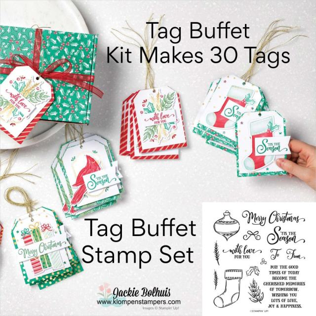 Order your Tag Buffet Project kit here and get your Christmas tags made easily.